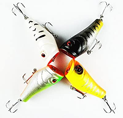 Y-BOX 4pcs Lot Hard Plastic Popper Topwater Floating Fishing Lures Surface Water Bass Baits Hooks Tackle 5cm 7.4g