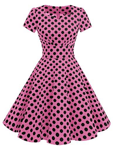 Dresstells®Vestido Mujer Corto De Estilo 1950 Vintage Con Manga Corta Pink Black Dot