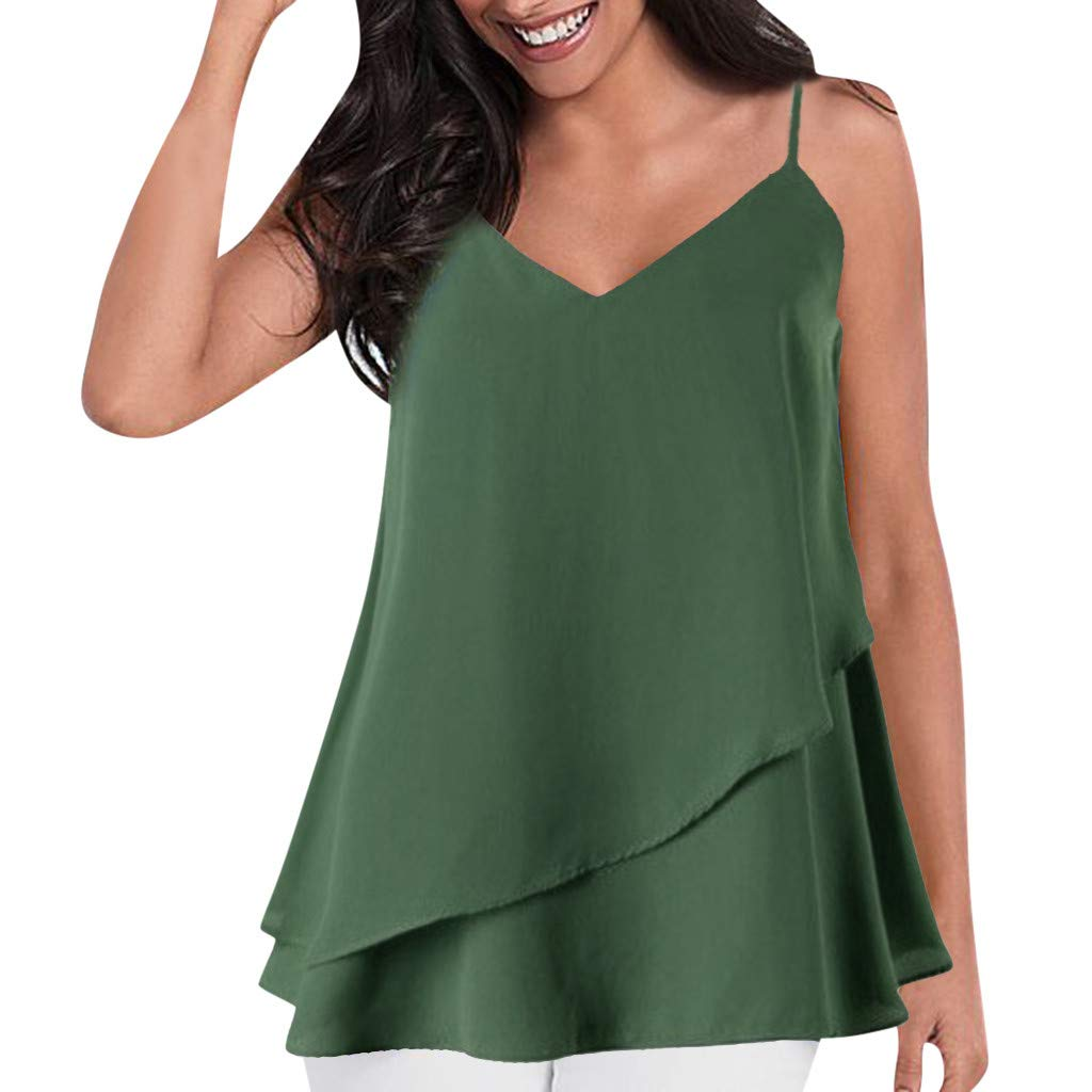 Kiminana Ruffled Camisole for Women Women T Shirts Tank Tops for Women Solid Sleeveless Blouse Casual Summer Cami Vest Green