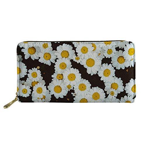 doginthehole Flower Daisy Printed Women Wallet Zip Around Clutch Ladies Travel Coin Purse