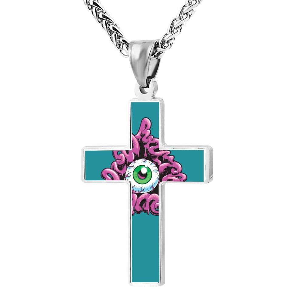 Wine Jianxian Do What Thou Will Cross Pendant Jewelry Zinc Alloy Prayer Necklace For Men Women With Necklace,24 Inch