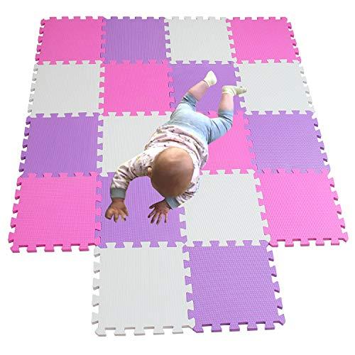 MQIAOHAM Soft EVA Kidz Interlocking Jigsaw Play Mat Set Foam Baby Tiles Floor Mats for Children Multicoloured Activity Puzzle jigsaws Indoor and Outdoor Colourful White Pink Purple 101103111 (Puzzle Pink Mat)