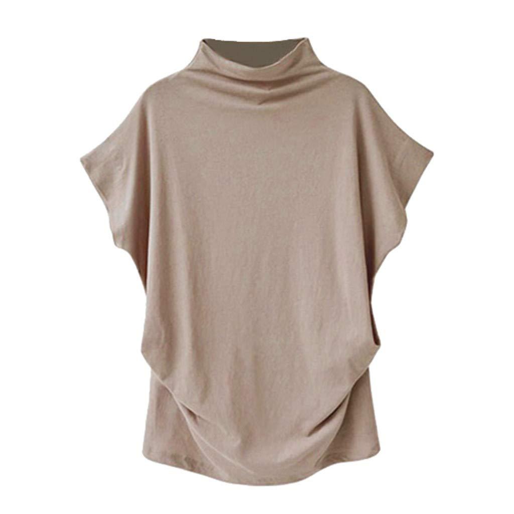 Yaseking Women's Turtleneck Short Sleeve Cotton Solid Casual Blouse Top T Shirt Plus Size Bat Sleeve Tops (L, Khaki)