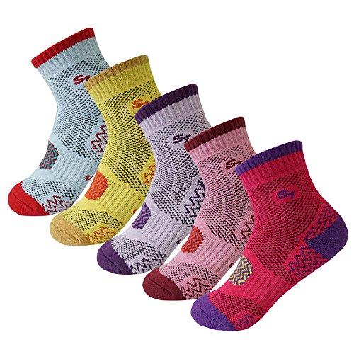 5pack Women's Full Cushion Mid Quarter Length Hiking Socks,Small 5Color Assortment