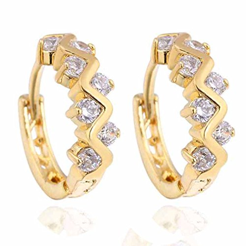 (YAZILIND 18k Gold Plated Hollow Twisted Style Round Clear Cubic Zirconia Small Hoop Earrings)