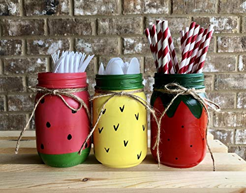 Watermelon, Pineapple, Strawberry Painted Mason Jar Decor Set of 3 | Fruit Flavored Mason Jars | Rustic Summer Vase Centerpiece | Farmhouse Decor | Nursery Decor | Burlap Bowtique | FREE Ship