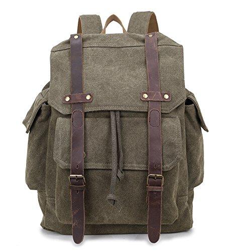BAGEHUA 若いレトロキャンバスバックパックには、大容量のバックパックのために男性と女性は、耐久性の高いレジャー旅行、ピクニックバックパック、高 46 cm 、幅 32 cm 、厚さ 11 cm 5 色 B076KD27GJ Army green Army green