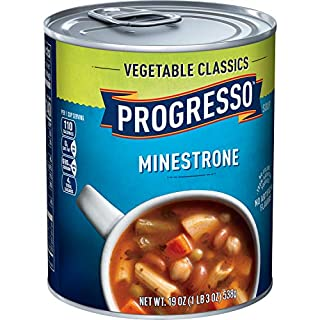 Progresso Soup, Vegetable Classics, Minestrone Soup, 19 oz Cans (Pack of 6)