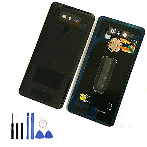 For LG G6 Glass Battery Back Cover - Battery Door Cover + Fingerprint Flex Sensor + Camera Glass Lens Cover Replacement Parts (Waterproof) with Tool Kit For LG G6 Verizon VS988 (Black) ()