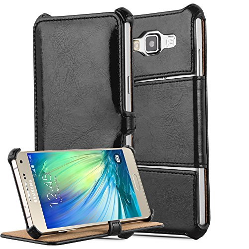 Cadorabo - Funda Estilo Libro para Samsung Galaxy A3 (5) (Modelo 2015) en Diseño Slim Waist con Función de Soporte SIN Cierre Magnético �?Carcasa Cintura Etui Case Cover Caja Protección Cubierta Prote NEGRO-PIANO