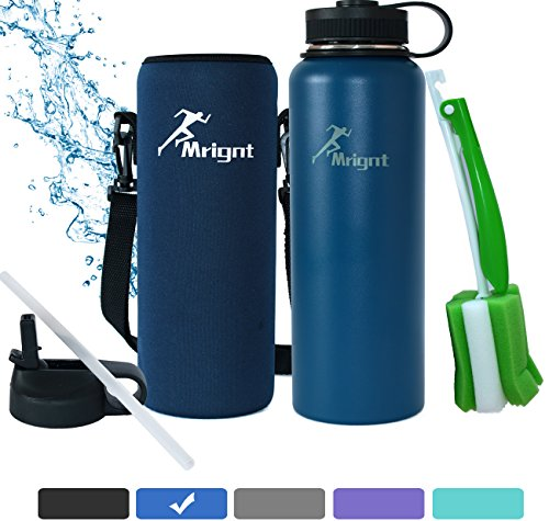 Stainless Steel Vacuum Insulated Sports Water Bottle-Best 40 OZ Thermos Water Bottle(Cold for 24 Hrs, Hot for 12 Hrs) for Men&Women with A Straw Lid& A Bottle Pouch & A Brush-Blue