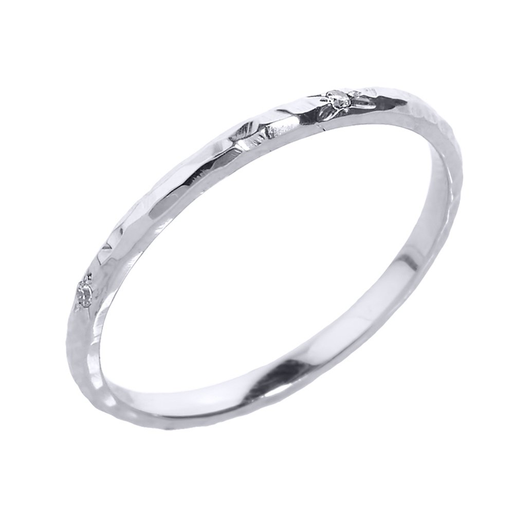 Dainty 10k White Gold Hammered Band Stackable Diamond Ring (Size 7.25)