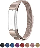 Fitbit Alta HR and Alta Bands Metal, Swees Milanese Stainless Steel Replacement Accessories Metal Small & Large Band for Fitbit Alta HR and Alta, Silver, Gold, Blue, Black, Rose Gold, Colorful, Grey