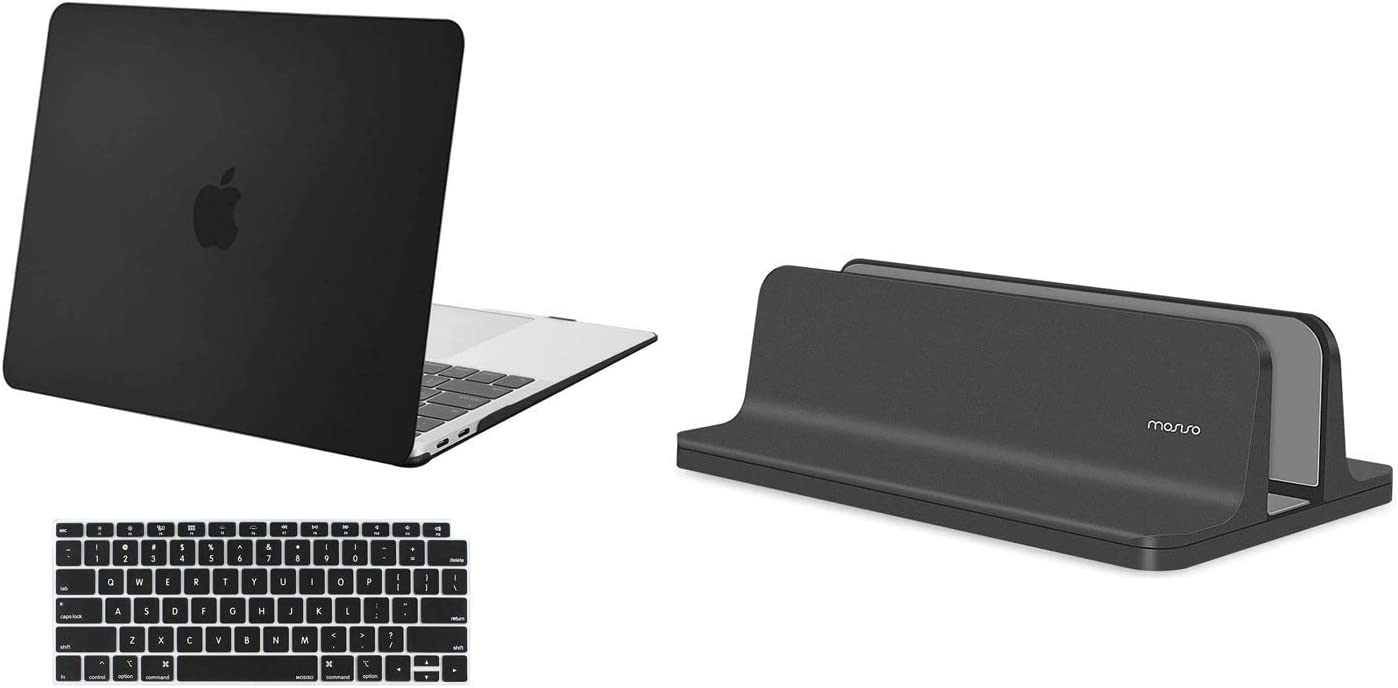 MOSISO MacBook Air 13 inch Case 2020-2018 Release A2179 A1932, Plastic Hard Shell Case & Keyboard Cover & Laptop Notebook Stand Holder One Slot Sturdy Desktop Stander