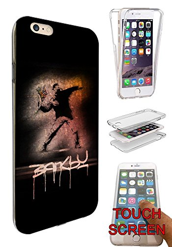 "002277 - Banksy Graffiti Art Design iphone 7 4.7"" Fashion Trend Silikon Hülle Komplett 360 Degree Protection Flip Schutzhülle Gel Rubber Silicone Hülle"