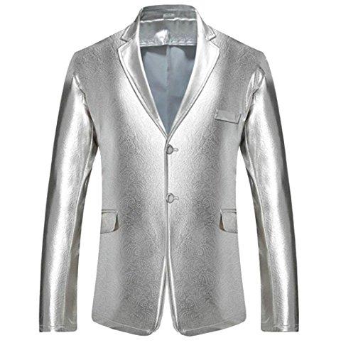 X-Future Men's Pockets Long Sleeve Buttons Metallic Lapel Club Blazer Jackets Silver L (Club Blazer Country)