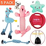 CCQIN Puppy Toys Plush Squeak Chew Rope Toys for Small Dogs Play and Training, 5 Packs