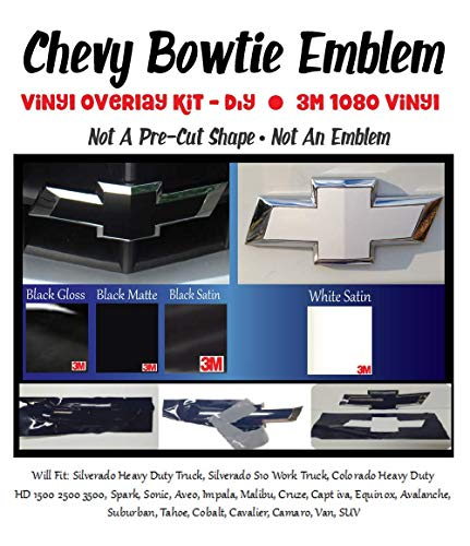 Compatible with Chevy Bowtie Emblem Vinyl Overlay Kit - DIY, Silverado, Colorado, Suburban, 1500, S10, Tahoe, Camero || w/Extra Sheet || 3M 1080 Black Matte, Black Gloss, Black Satin or White Satin