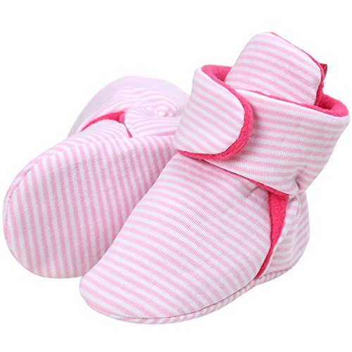 Baby Cozy Fleece Booties Socks Infant Toddler with Non Skid Bottom Booty Striped Pink 12-18 Months (Striped Booties)