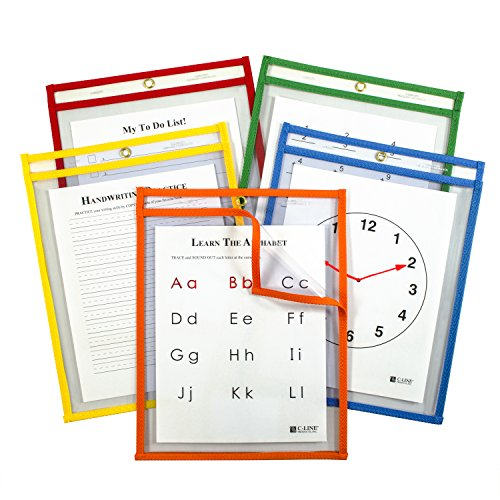 (C-Line Super Heavyweight Plus Dry Erase Pockets, Assorted Primary Colors, 9
