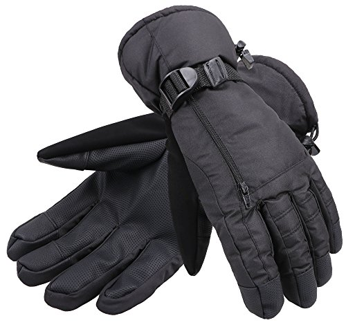 ANDORRA Men's Waterproof Thinsulate Lined Touchscreen Winter Ski Gloves,L,Black