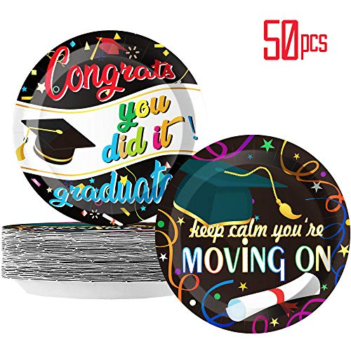Graduation Party Plates - Graduation Party Supplies for Congrats Grad Class of 2019 Birthday Party Decoration, Paper Plates 9