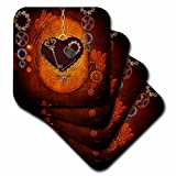 3dRose Beautiful Steampunk Heart Clocks and Gears Soft Coasters,