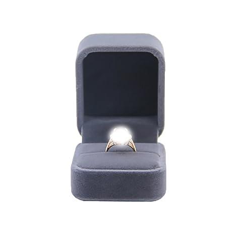 bigboba encanto joyas pantalla anillo caja de almacenaje, compromiso, boda Festival cumpleaños regalos cajas gris oscuro de 5,2 * 6.1 * Pareja