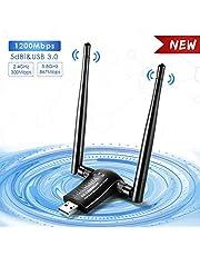 USB Wifi Adaptador Receptor WiFi, ShangQia 1200Mbps Antena con USB 3.0 Wireless 5DBI Banda Doble 2.4GHz/5.8GHz WiFi Dongle para Desktop/Laptop/ PC, compatible con Windows 10 / 8/7 XP Mac OS