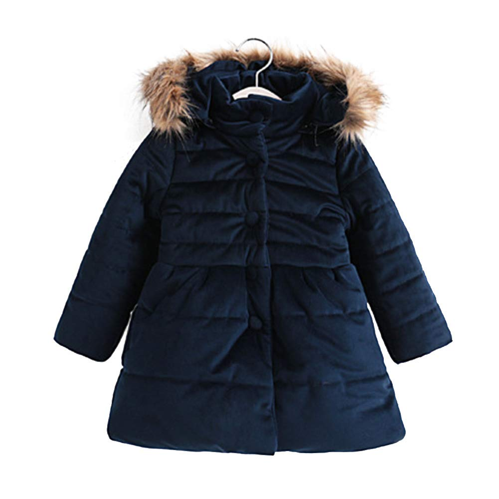 Fashionwu Girls Thickened Bow-tie Cotton-Padded Jacket Plush Collar Hoodie Warm Coat Dark Blue 140 Yards