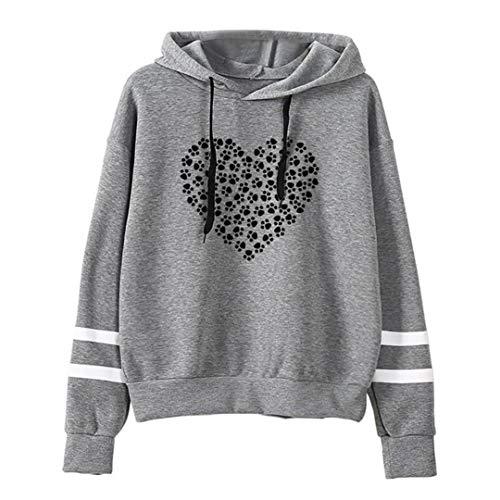 - ManxiVoo Women's Paw Heart Print Pullover Sweatshirt Drawstring Hooded Hoodie Jumper Blouse T Shirt (XL, Gray)