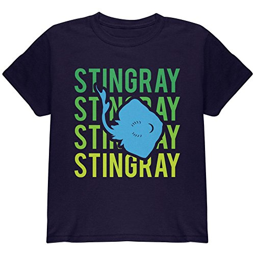 (Animal World Stingray Ray Stacked Repeat Youth T Shirt Navy YMD)