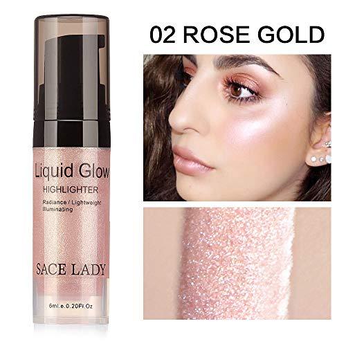 Clearance Sale!UMFun Liquid Glow Highlighter Lip Foundation Makeup Shimmer Cream Facial Bronzer Cosmetic (B)