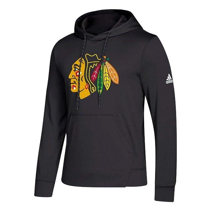 adidas Chicago Blackhawks Black 2018 19 Synthetic Hooded Sweatshirt Hoody