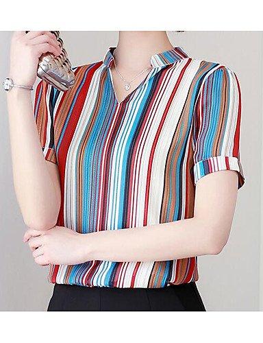 YFLTZ Camicetta block Red color donna da Collo camicia rrWBqxd