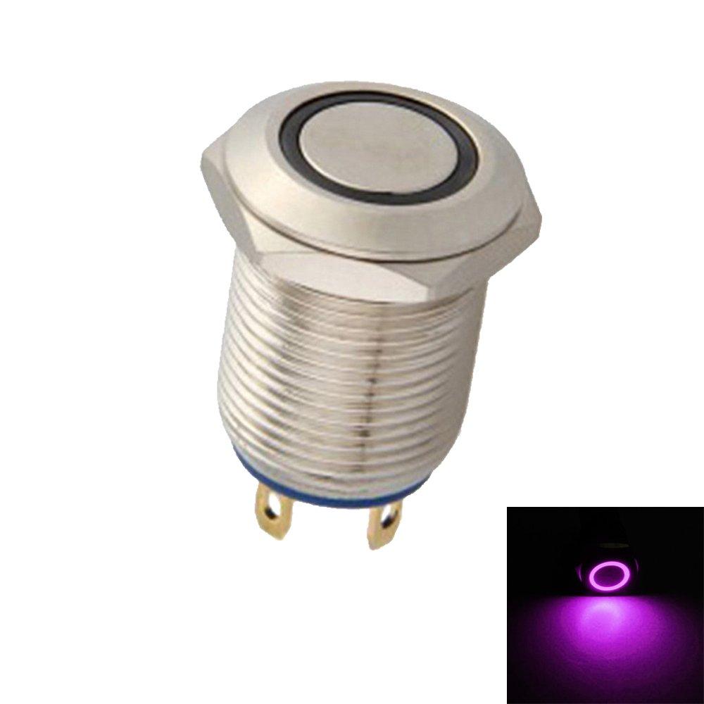 Mintice™ 12 millimetri LED verde luce 2A momentaneo dell'interruttore di pulsante acciaio barca auto impermeabile