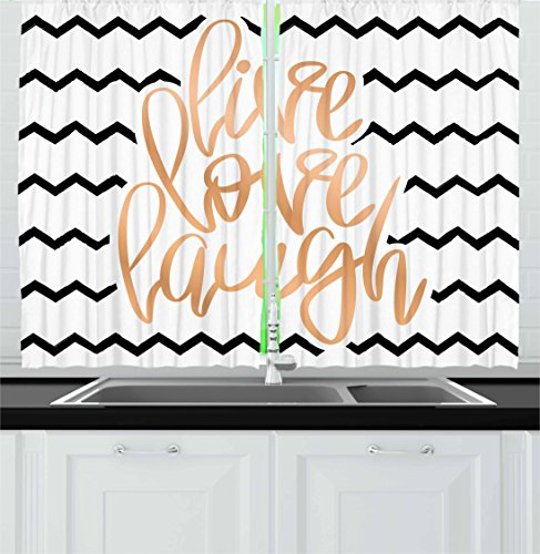 Ambesonne Live Laugh Love Kitchen Curtains, Motivational Calligraphic Artwork with Zigzags Chevron Stripes, Window Drapes 2 Panel Set for Kitchen Cafe Decor, 55