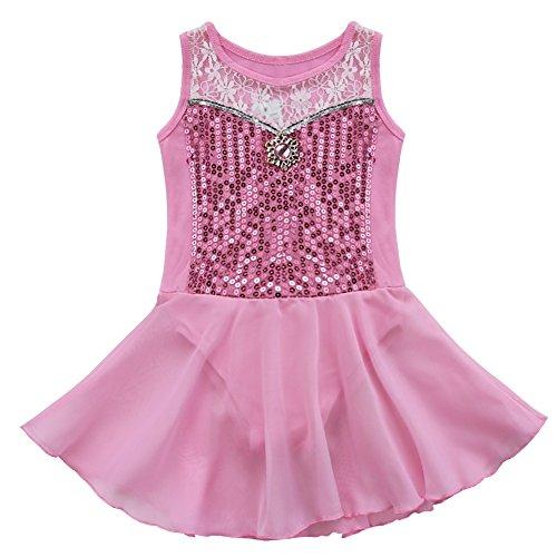 Agoky - Disfraz de tutú de Ballet, sin Mangas y Lentejuelas, para niñas, Rosado, 3