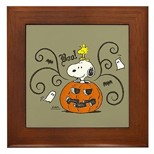 CafePress - Peanuts Snoopy Sketch Pumpkin - Framed Tile, Decorative Tile Wall Hanging