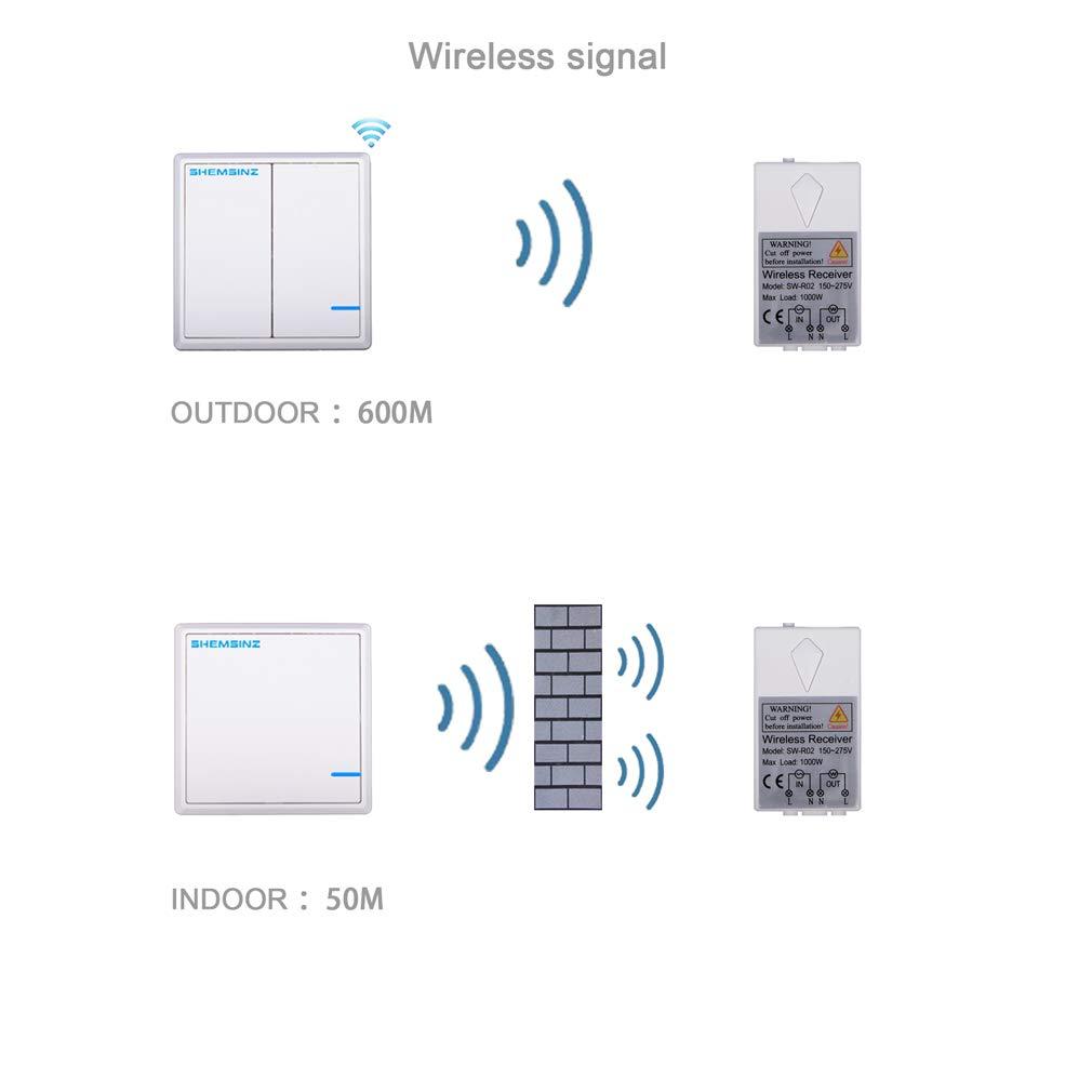 SHEMSINZ.Drahtloser Schalter.Kein Draht-Arrangement.Doppel schalter.Kabellose Steuerung.Wireless Kontrollleuchten und Haushaltsger/äte.