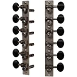 Golden Age Restoration Tuners for 12-String Slotted Peghead Guitar, Relic Nickel with Black Knobs