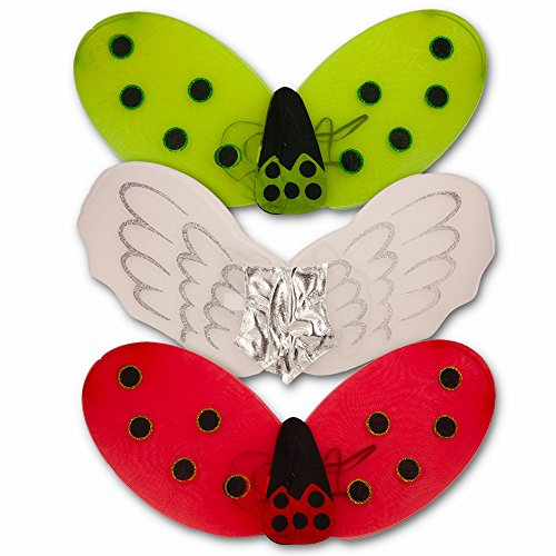 Fairy Wings for Girls (Set of 3 - Angel, Ladybug, Bumble Bee Wings) ...