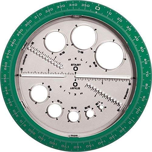 Angle/Circle Maker, Protractor/Compass, 360 Degrees, Sold as 1 Each (Renewed) by Helix