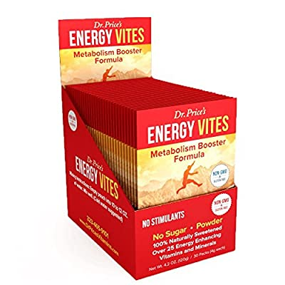Energy Vites: Metabolism Booster Formula + Complete B Complex, Biotin, L-Tyrosine, B12 & CoQ10 for Natural Energy & Focus | (30 powder packets) NEW! Energy Drink Mix | Dr. Price's Vitamins | No Sugar, No Caffeine, Non-GMO & Gluten Free