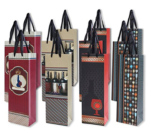 12 pack All-occasion Wine Gift Bags Single Bottle Wine Alcohol Liquor Spirits with Creative Style Paper, 4 designs - 5 x 3.5 x 14.5 inches