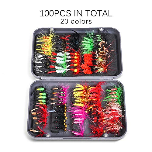 Ameglia 20/100pcs Dry Flies Bass Trout Fly Fishing Lures Double Side Waterproof K5E9 (Size - ()