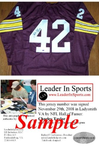 (Charley Taylor Autographed Custom Maroon Jersey - Washington Redskins Hall of Fame)