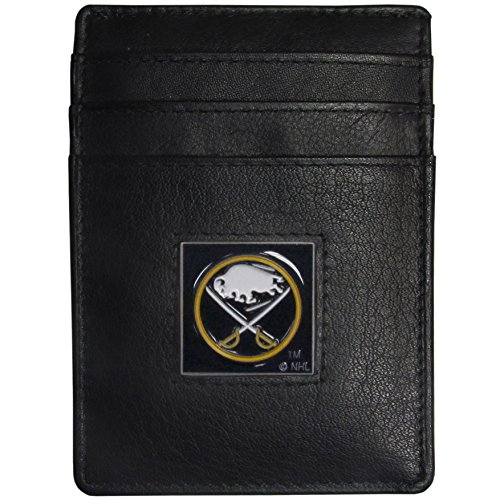 Buffalo Sabres Black Leather - NHL Buffalo Sabres Leather Money Clip/Cardholder Packaged in Gift Box, Black
