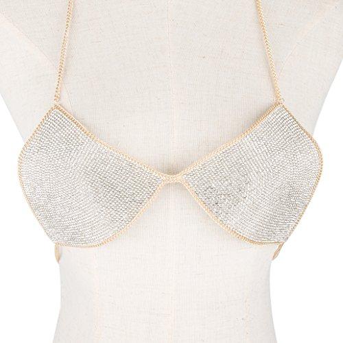 lan27 Sexy Women Nightclub Bling Crystal Bra Party Body Jewelry Bikini Beach Harness Slave Gold Color Necklace Bra by lan27 (Image #1)