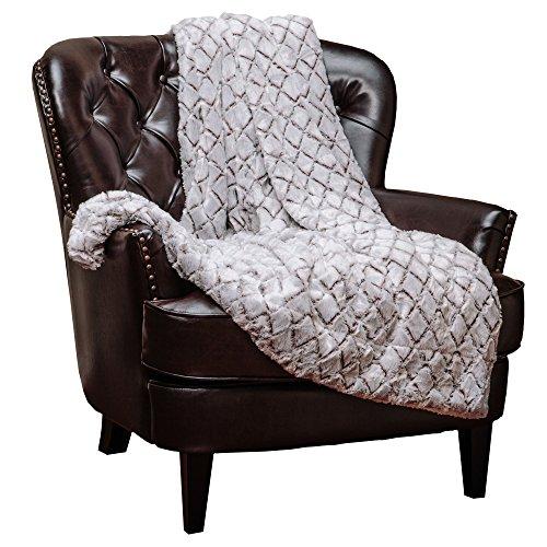 Chanasya Super Soft Fuzzy Fur Faux Fur Cozy Warm Fluffy Beautiful Diamond Shape Embossed Pattern Plush Sherpa Fur Ivory Throw Blanket- Ivory Brown